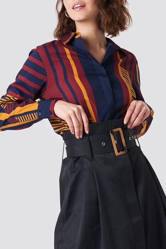 Paperbag Detail Midi Skirt Black