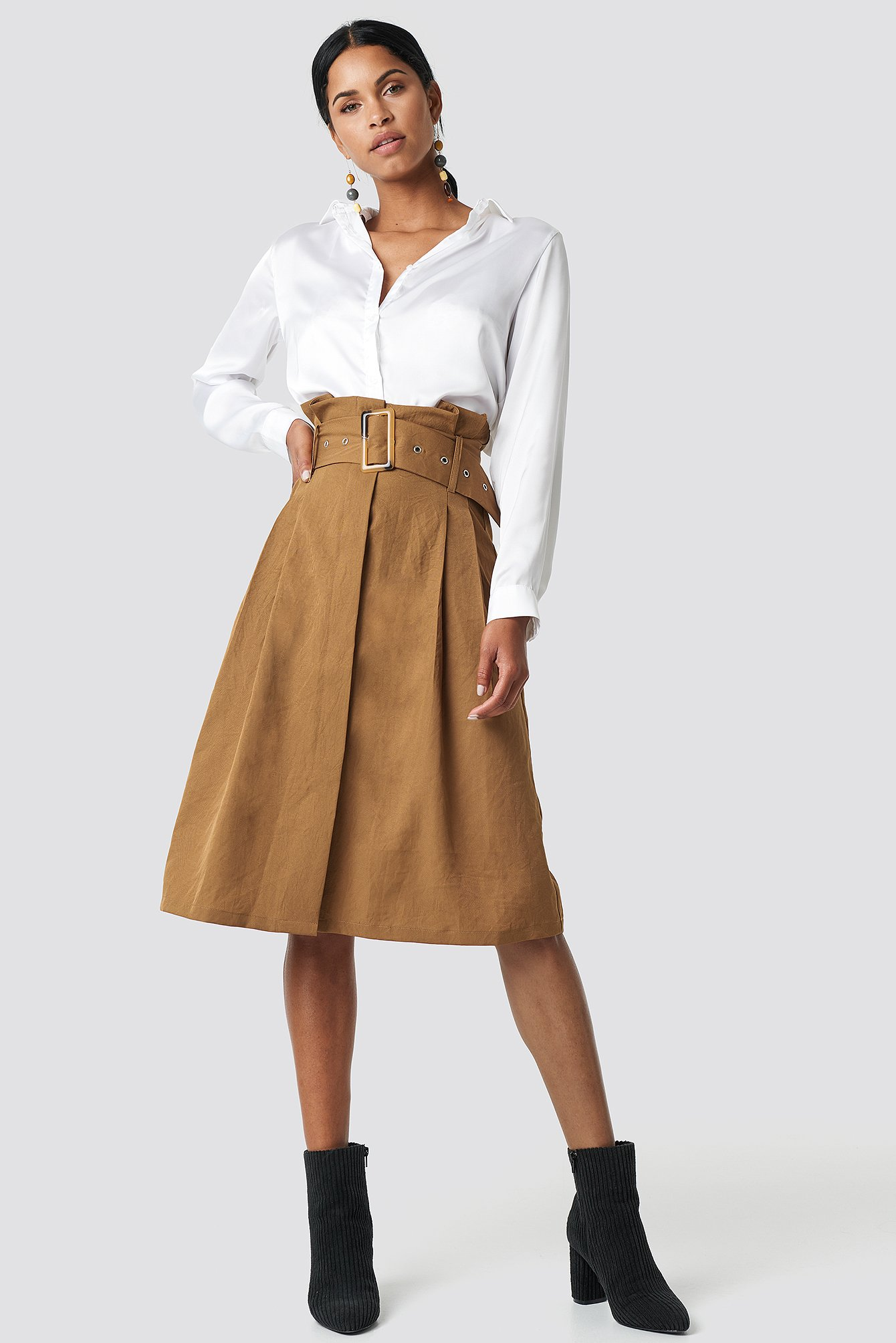 na-kd trend -  Paperbag Detail Midi Skirt - Brown