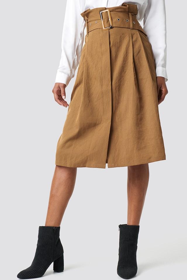 Paperbag Detail Midi Skirt Warm Beige