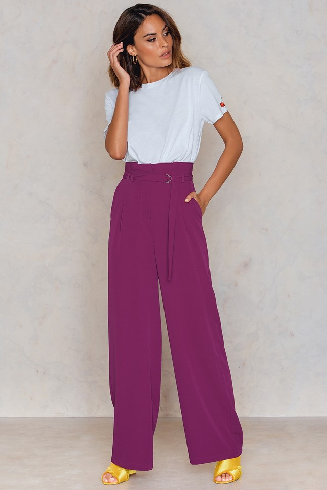 Paperbag Waist Wide Pants Strong Purple