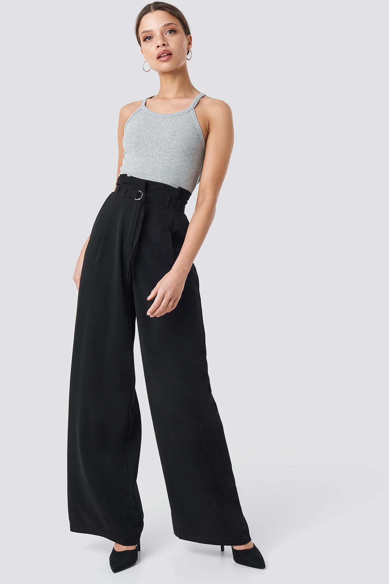na-kd trend -  Paperbag Waist Wide Pants - Black