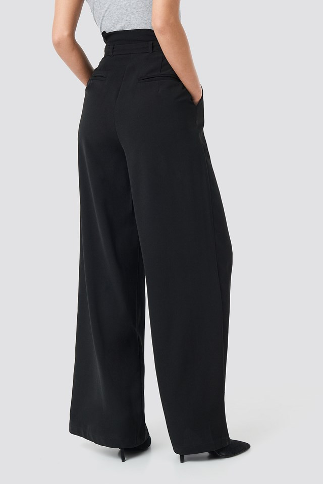 Paperbag Waist Wide Pants Black