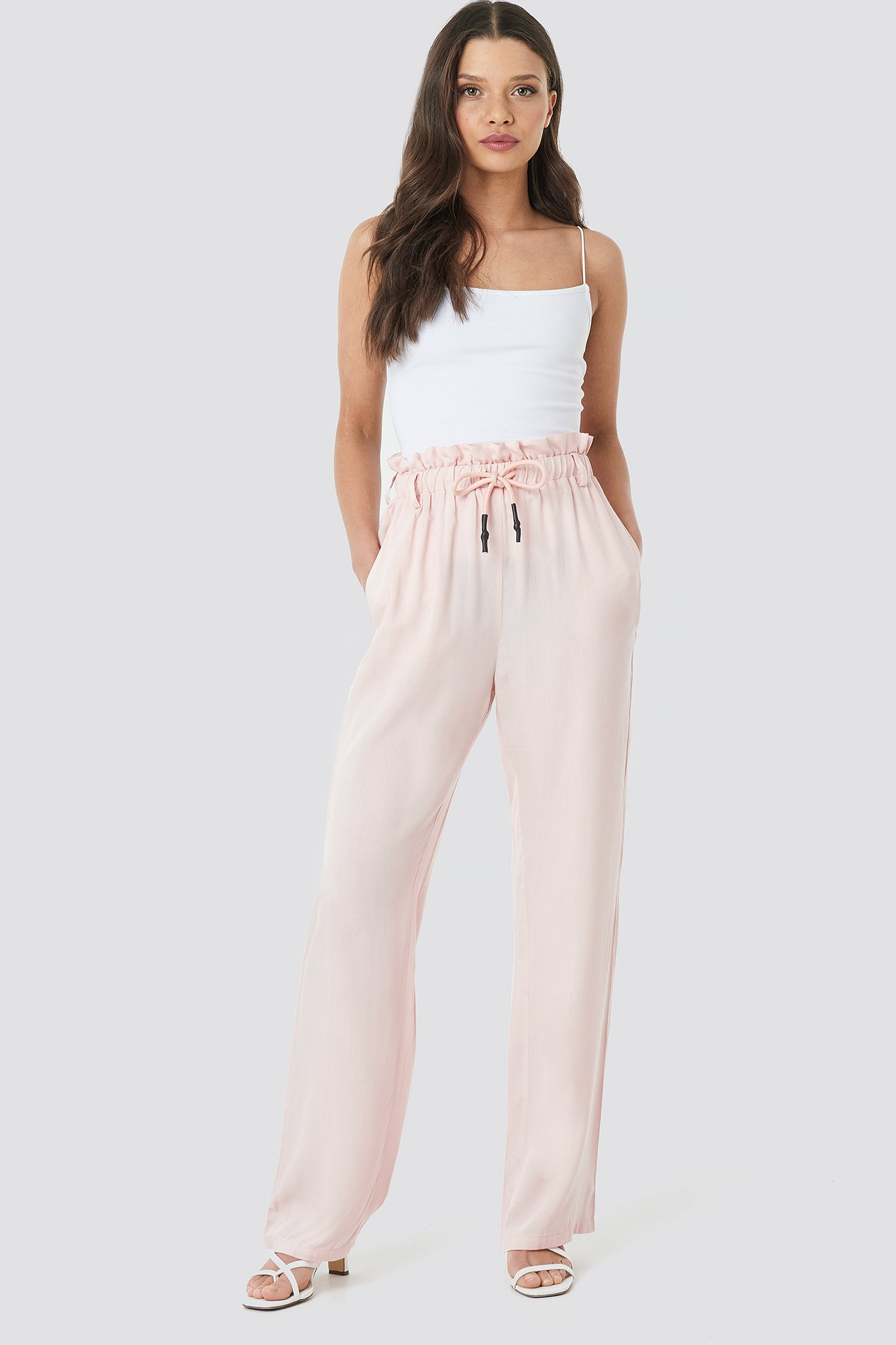 na-kd -  Paperbag Wide Leg Trousers - Pink
