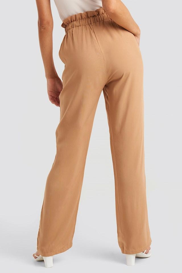 Paperbag Wide Leg Trousers Tan