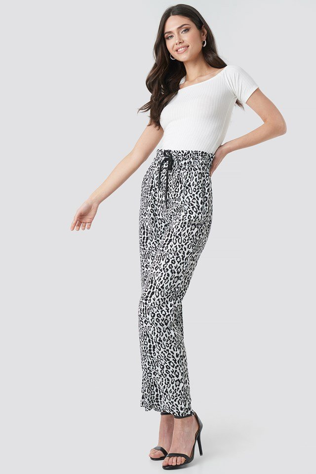 Paperbag Wide Leg Trousers Black/Leopard