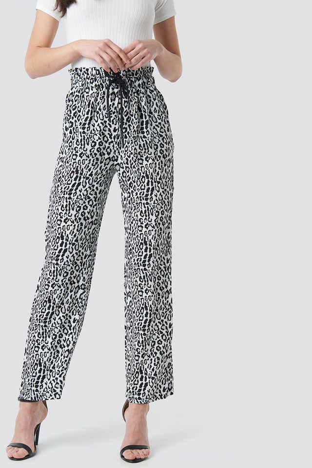 Paperbag Wide Leg Trousers Black/Leopard