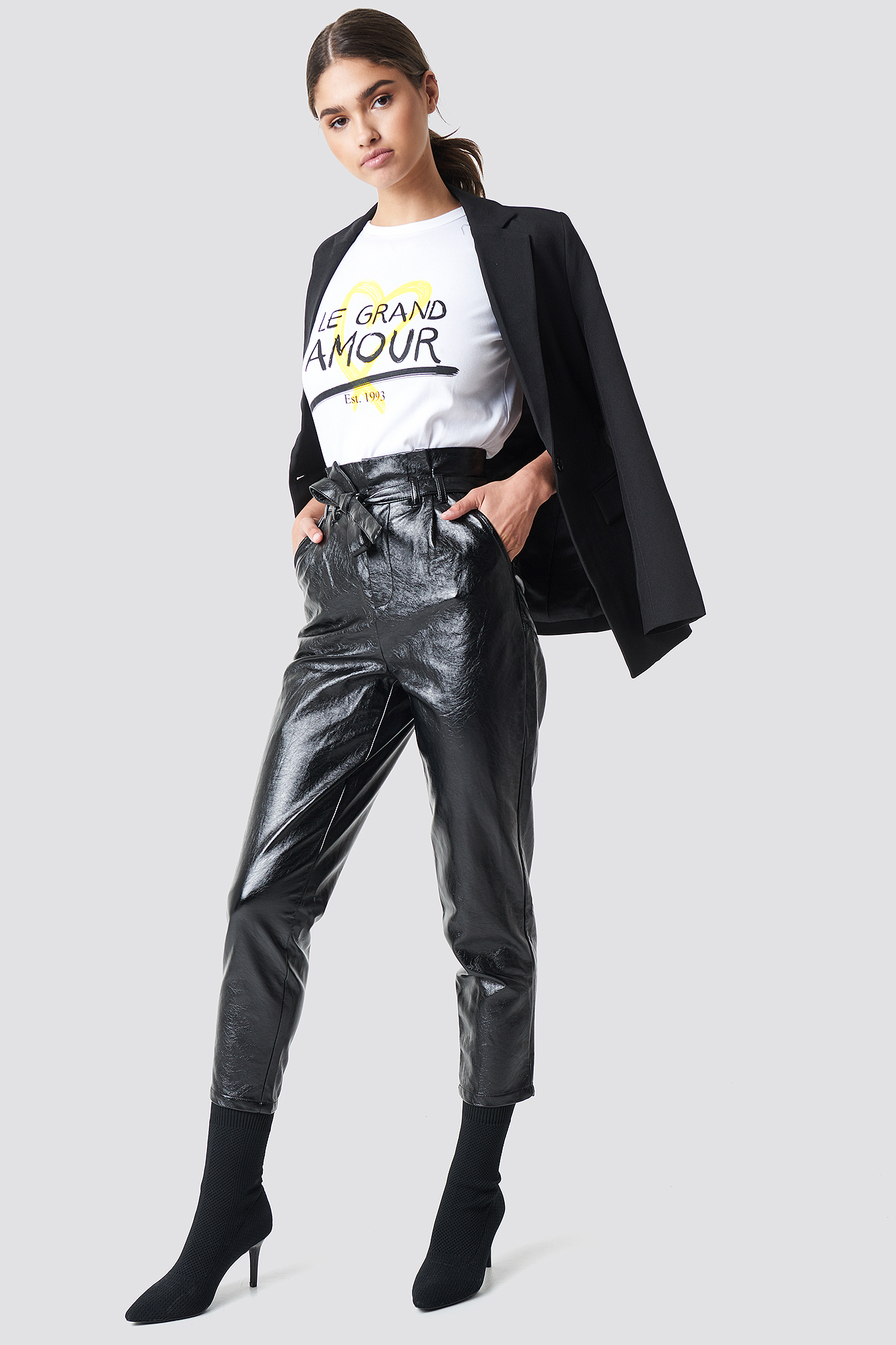 Paperwaist Patent Leather Pants Svart by Na Kd Trend