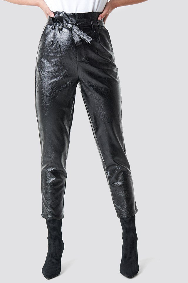 Paperwaist Patent Leather Pants NA-KD.COM