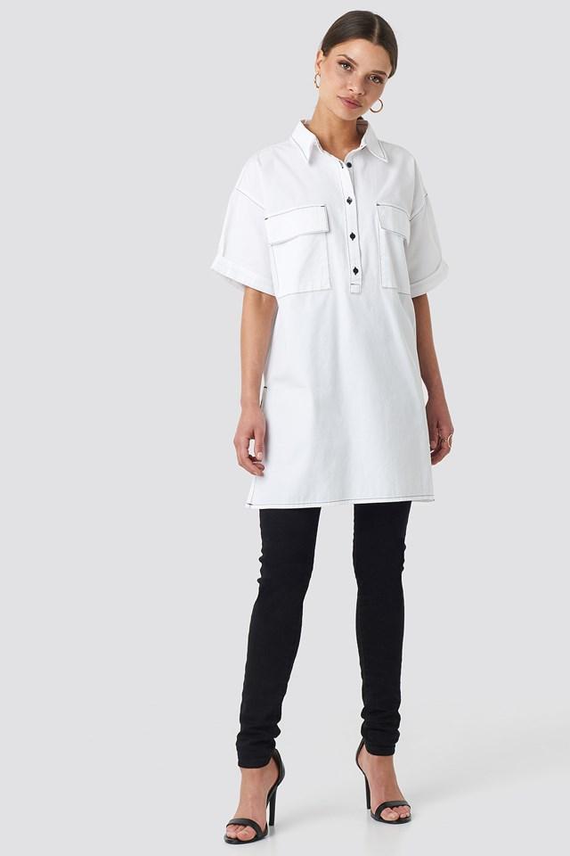 Patch Pocket Oversized Shirt White