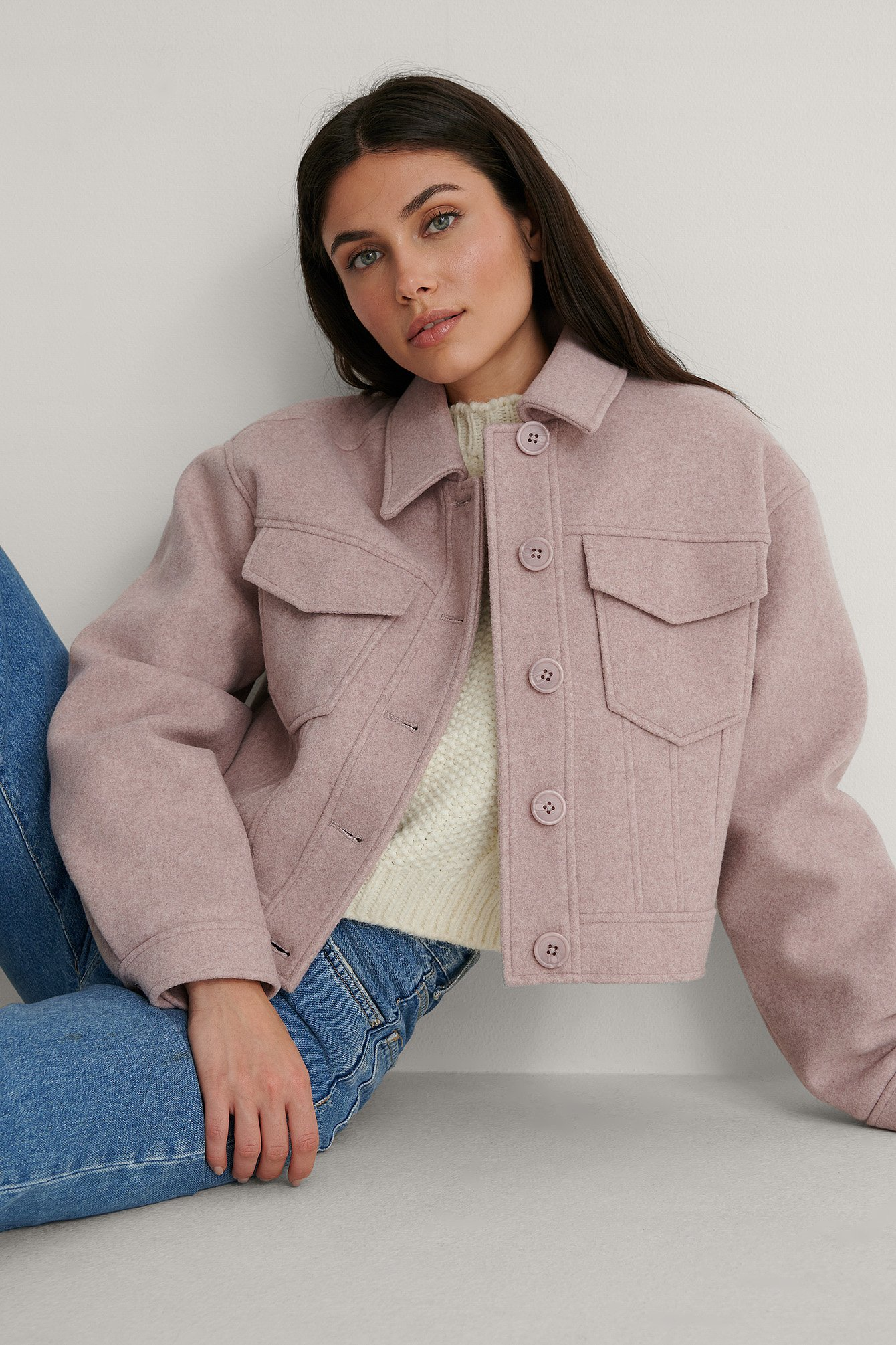 Pink Patch Pocket Short Jacket