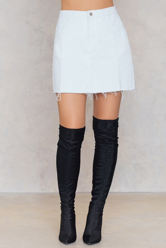 Patched Denim Skirt White
