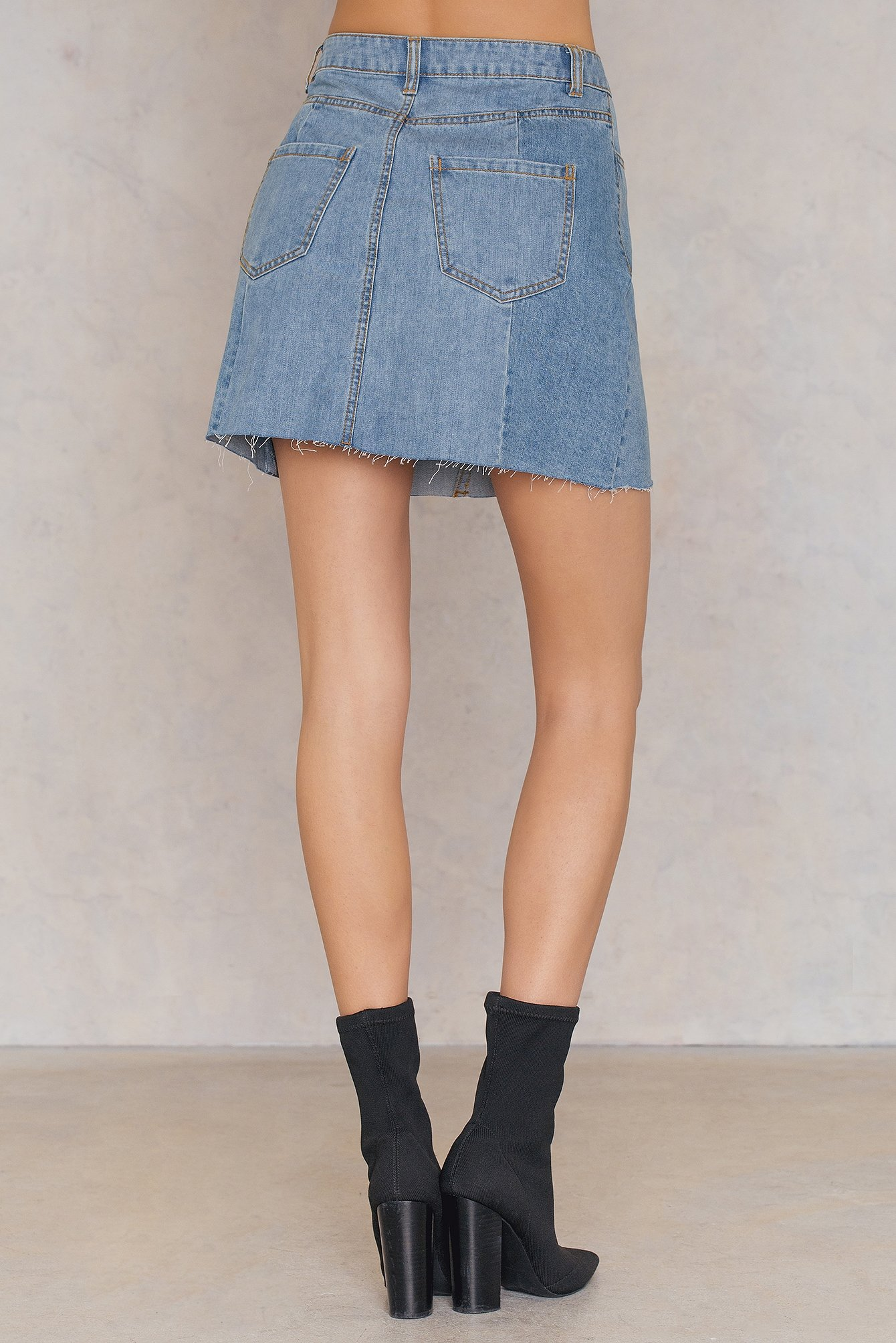 Mid Blue Patched Denim Skirt