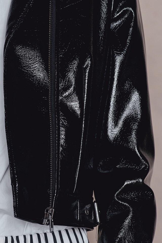 Patent Biker Jacket Black