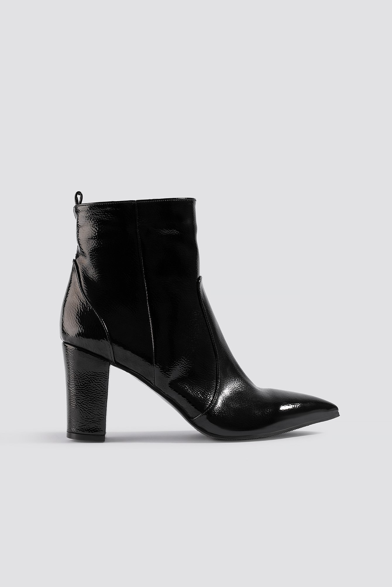 na-kd shoes -  Patent Block Heel Boots - Black