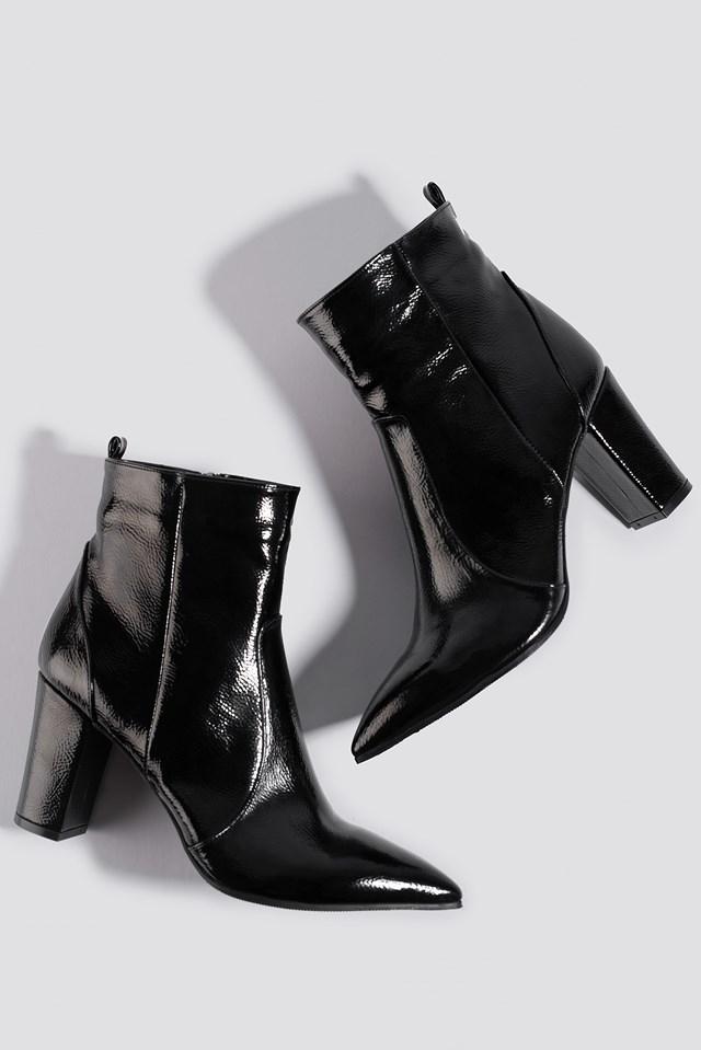 Patent Block Heel Boots Black