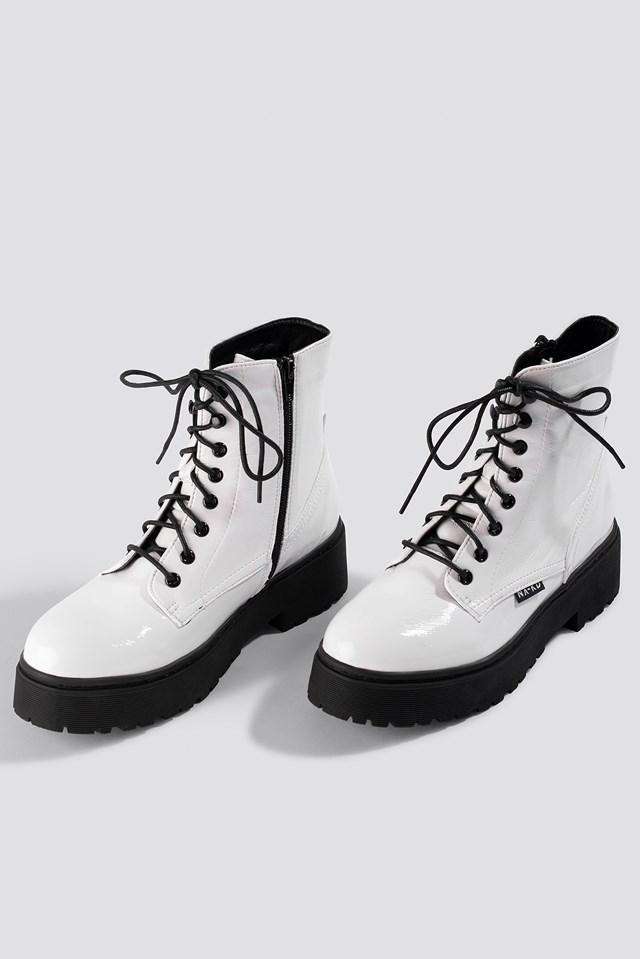Patent Combat Boots White