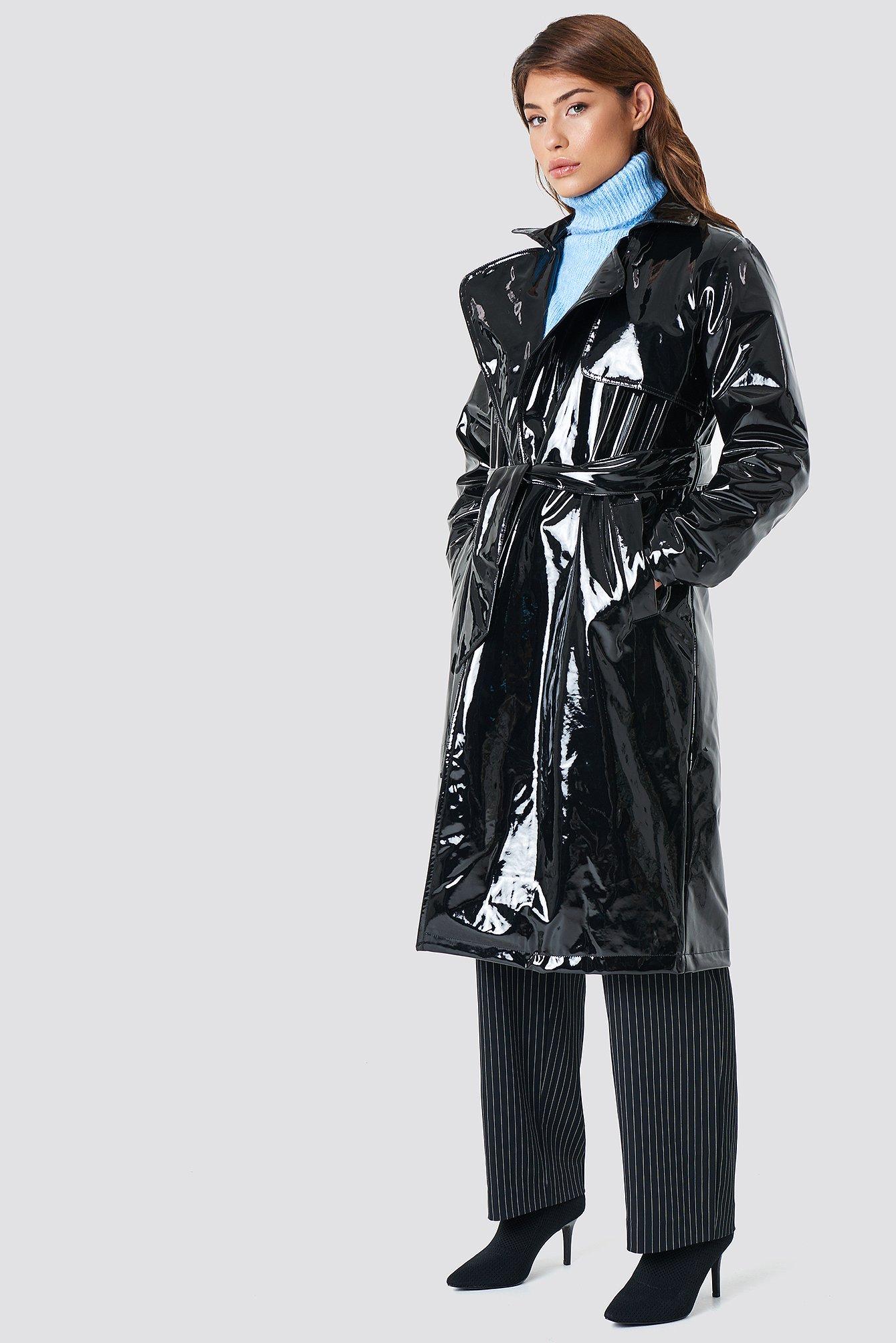 na-kd trend -  Patent Long Jacket - Black