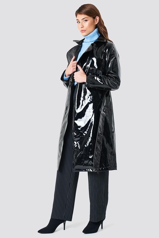 Patent Long Jacket Black