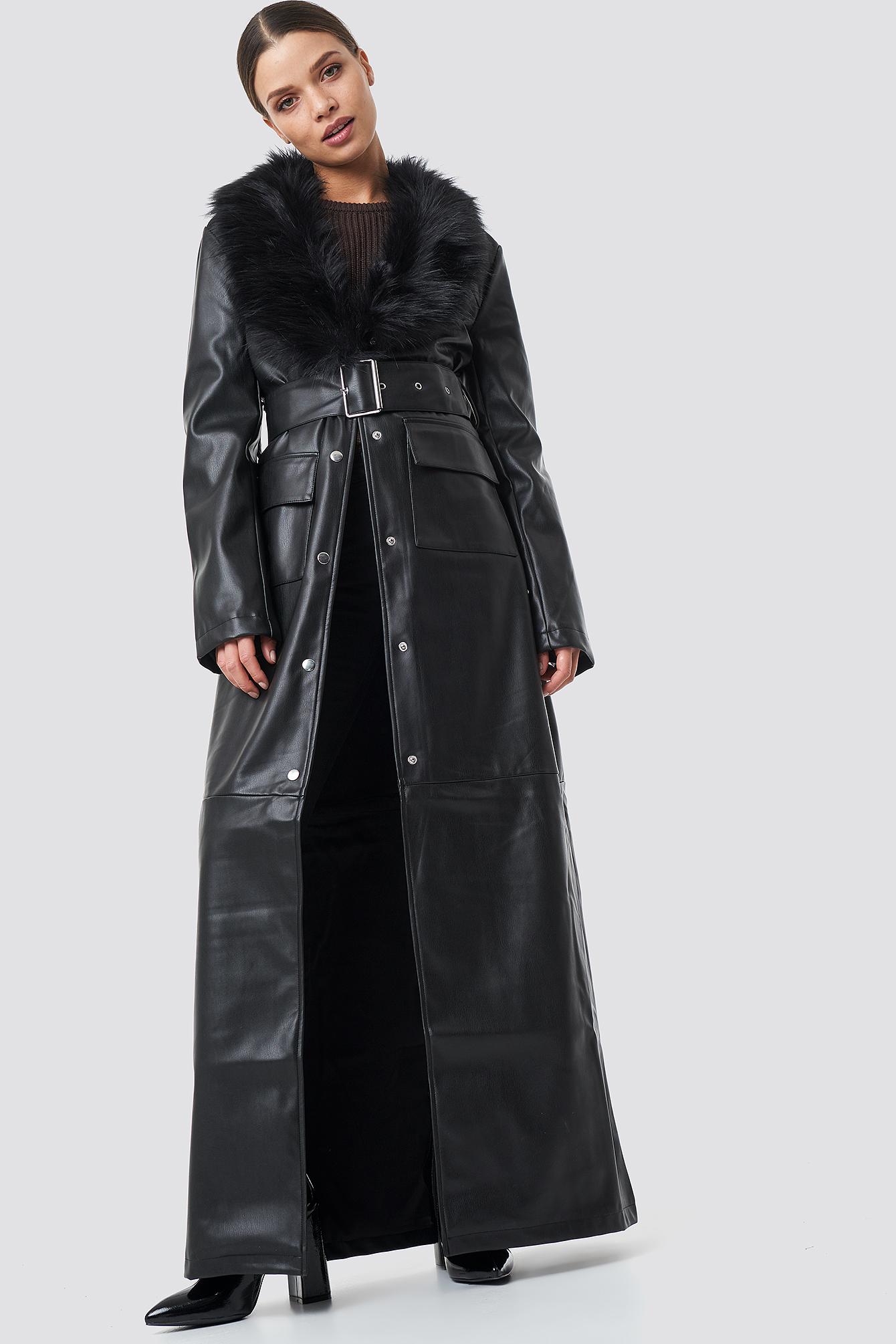 na-kd trend -  Patent Maxi Coat - Black