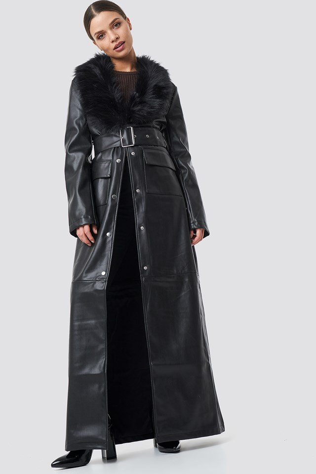 Patent Maxi Coat Black