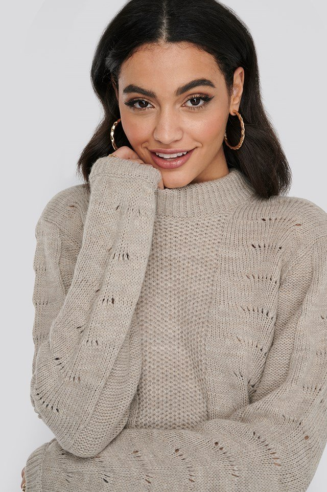 Pattern Knitted Round Neck Sweater Beige