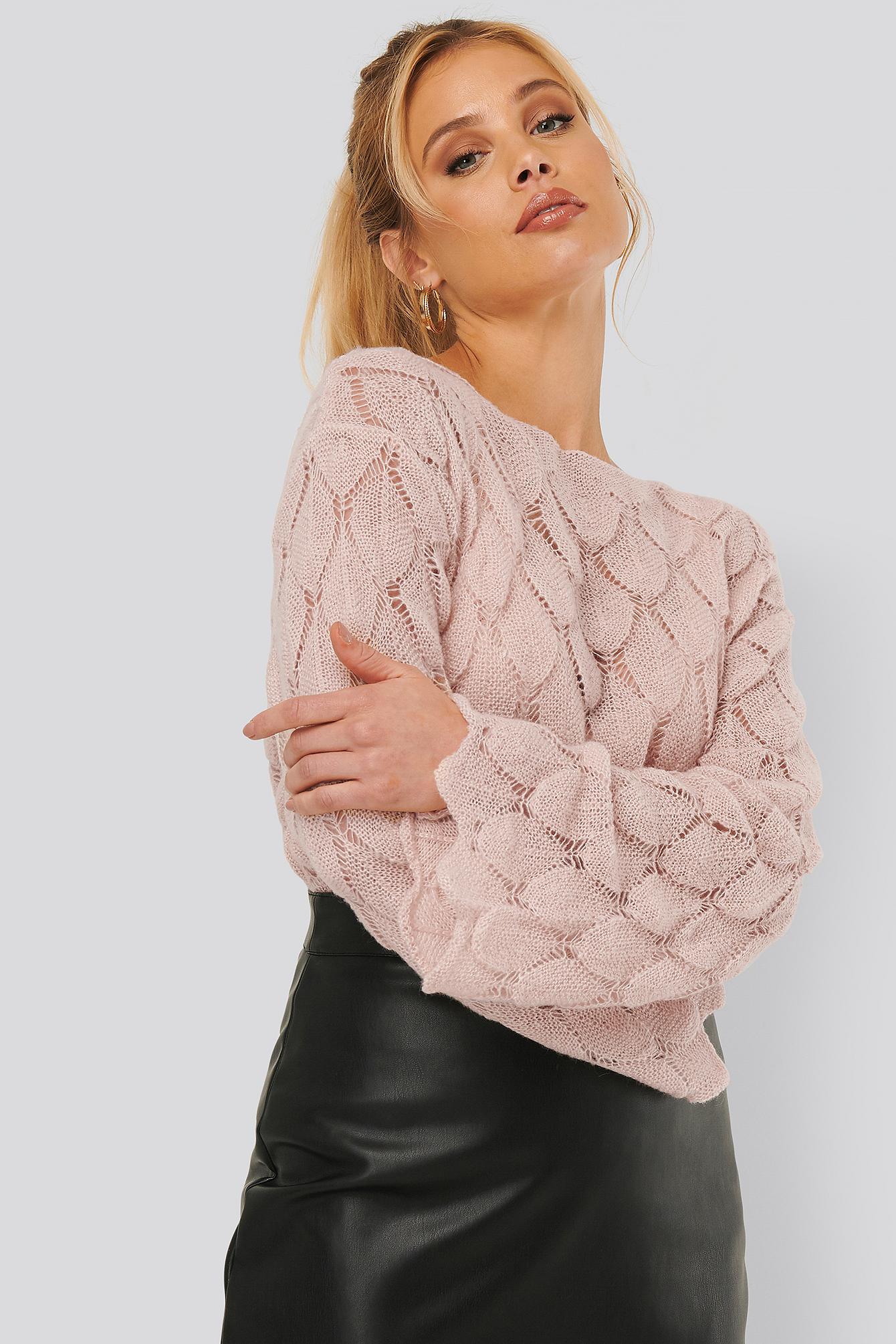 na-kd -  Langarm-Pullover Mit Muster - Pink
