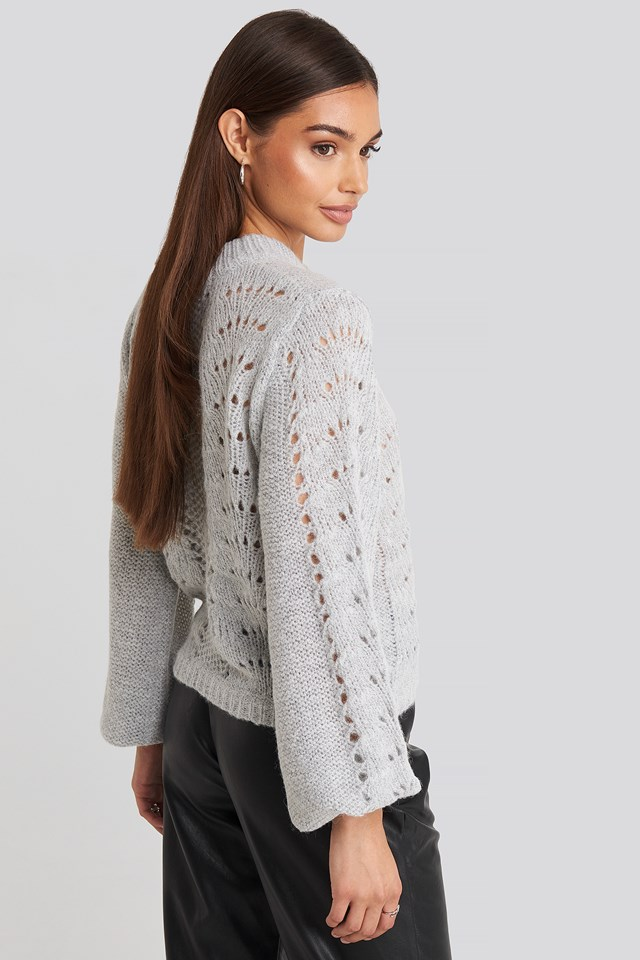 Pattern Knitted Round Neck Sweater Grey