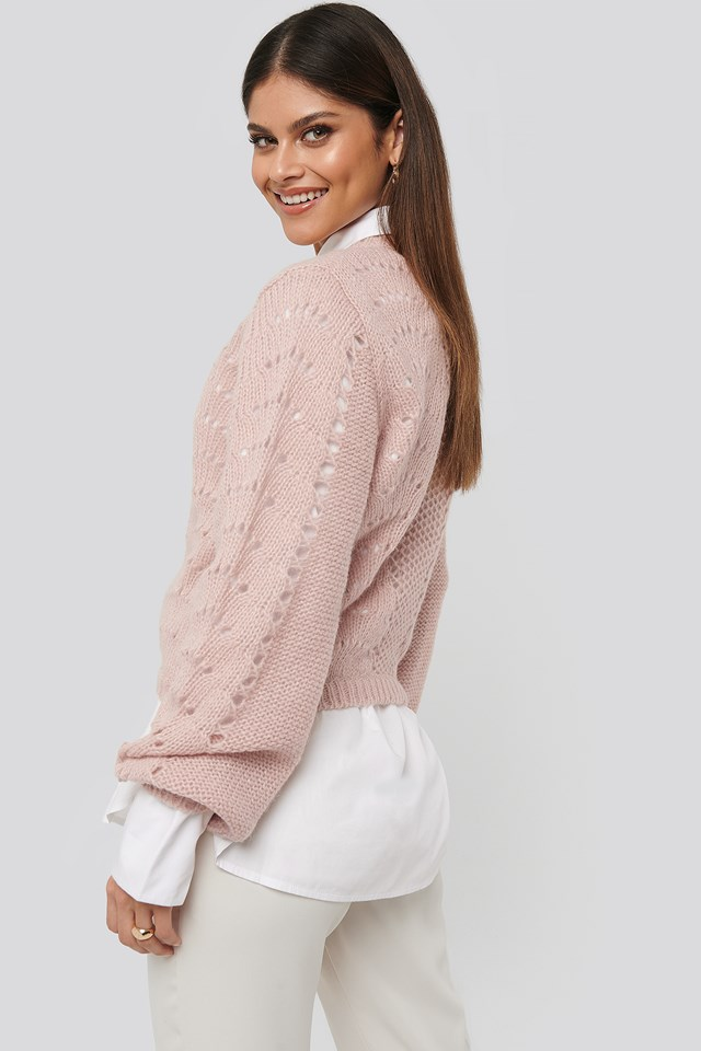 Pattern Knitted Round Neck Sweater Light Pink
