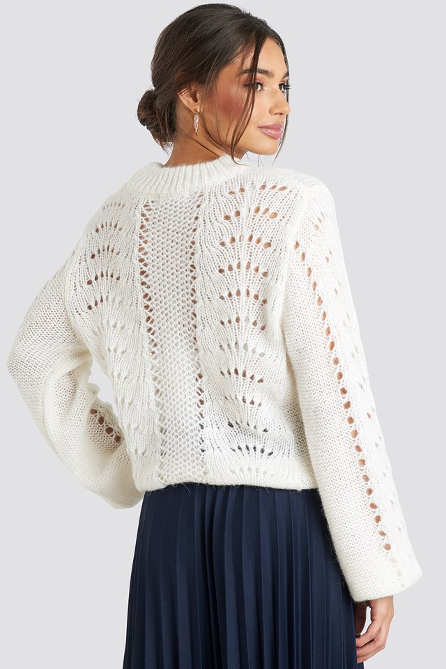 Pattern Knitted Round Neck Sweater Offwhite