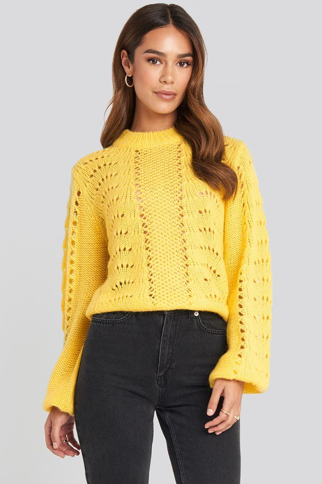 Pattern Knitted Round Neck Sweater Citrus