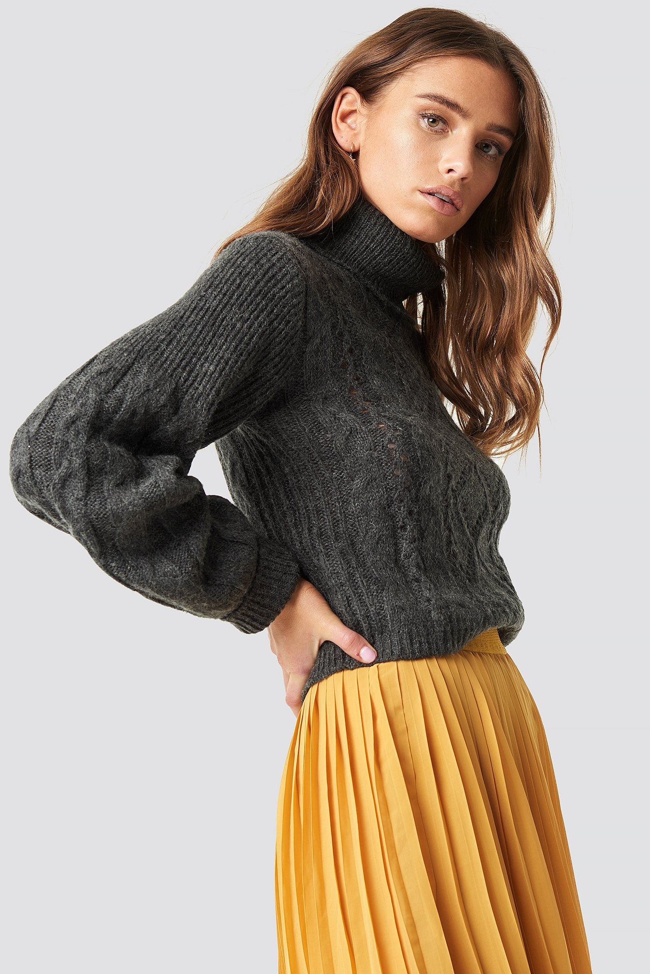 Pattern Knitted Short Sweater Grey | na-kd.com