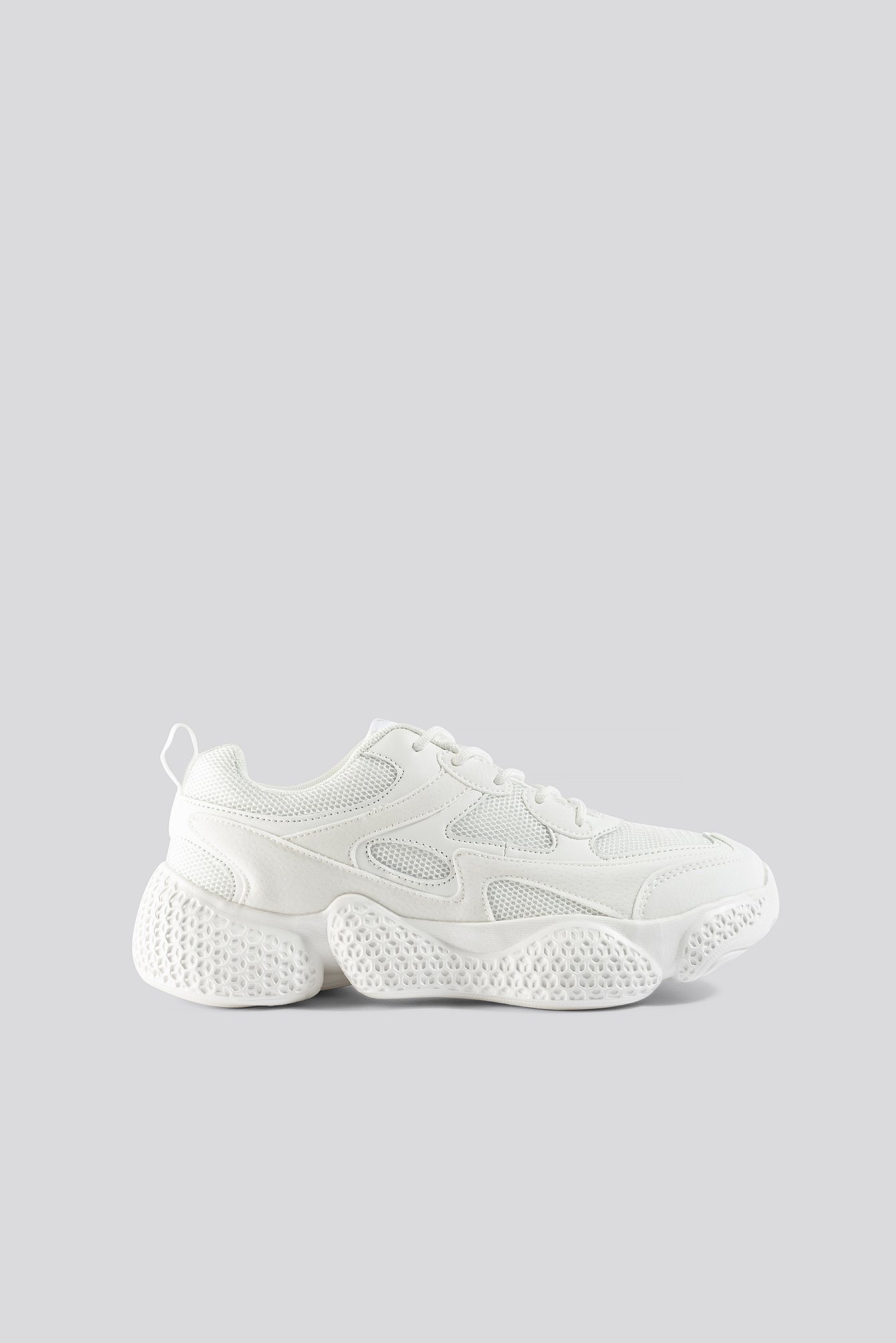 White Patterned Wavy Sole Trainers