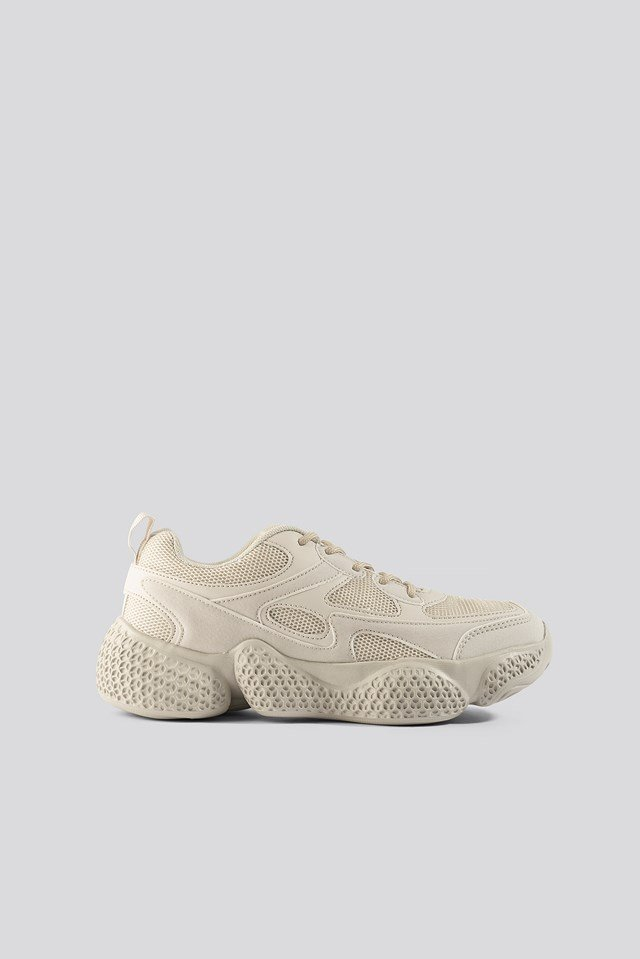 Patterned Wavy Sole Trainers Nude