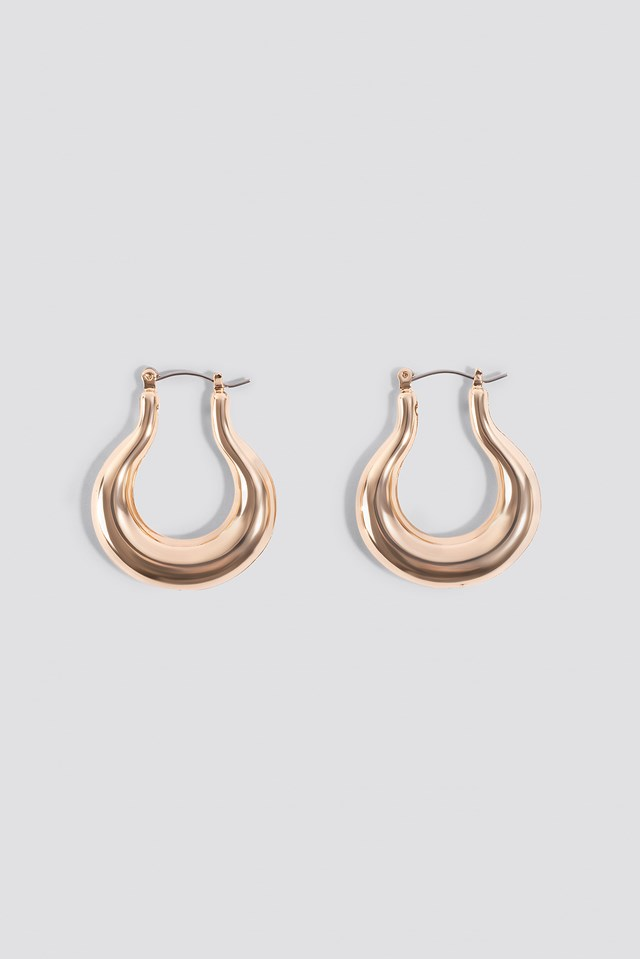 Pear Shaped Thick Hoops Gold