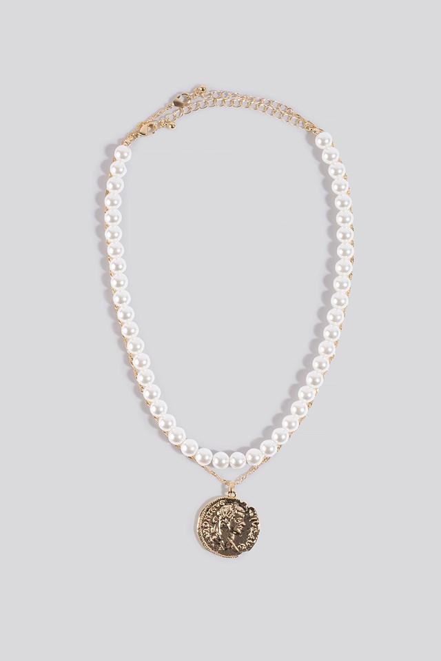Pearl and Coin Necklace White