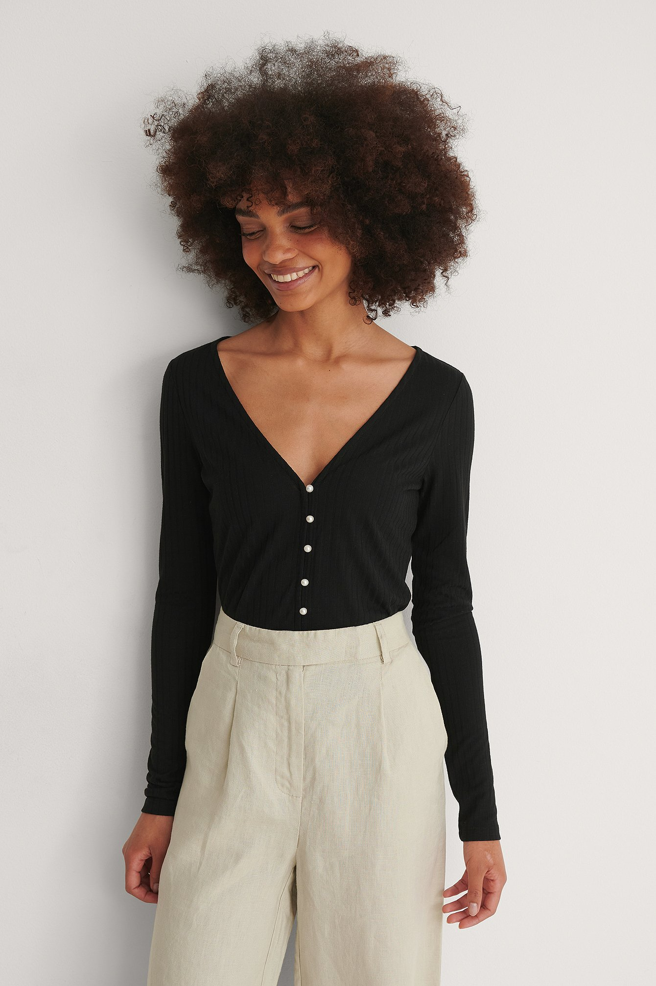 Black Recycled Pearl Button Detail Top