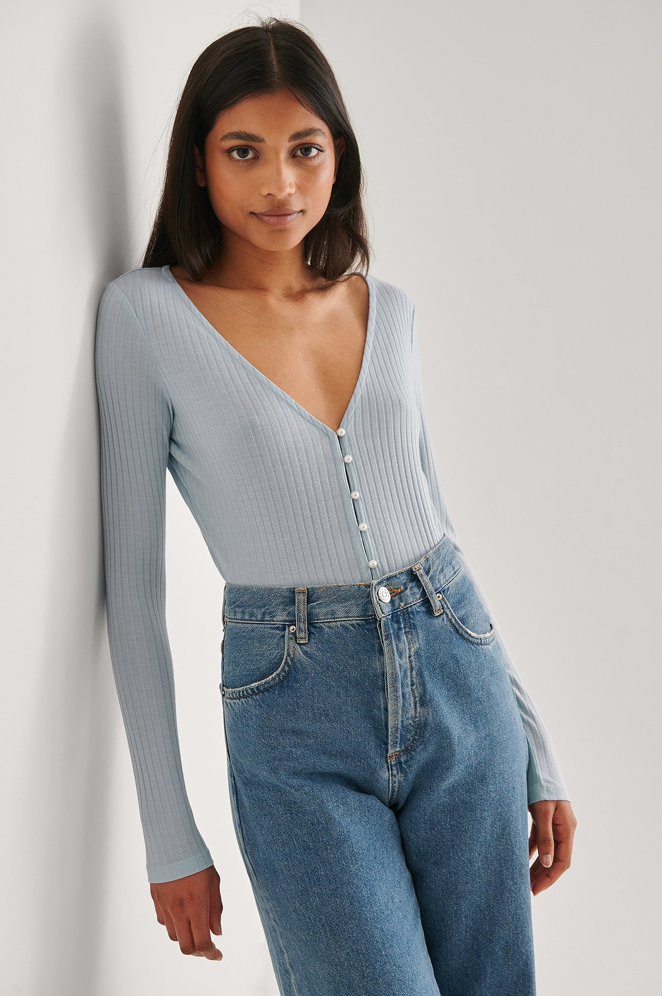 Light Blue Pearl Button Detail Top