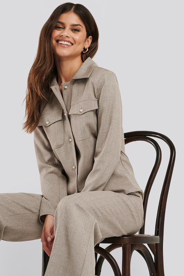 Pearl Buttoned Overshirt Grey