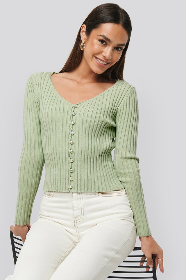 Pearl Detailed Knitted Cardigan Dusty Light Green