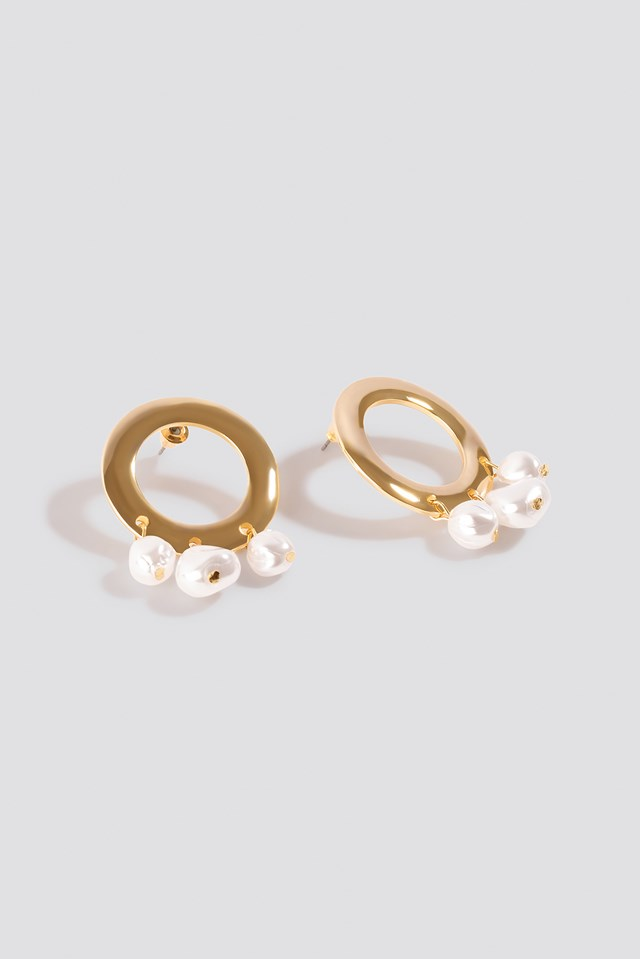 Pearl Detailed Wide Ring Earrings Gold