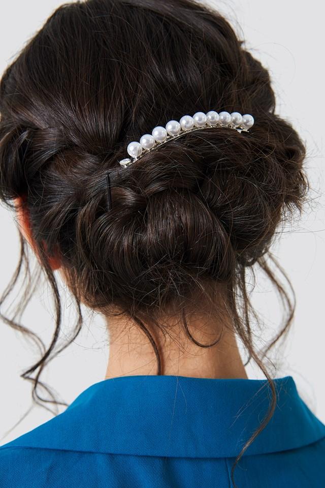 Pearl Hair Clip Silver