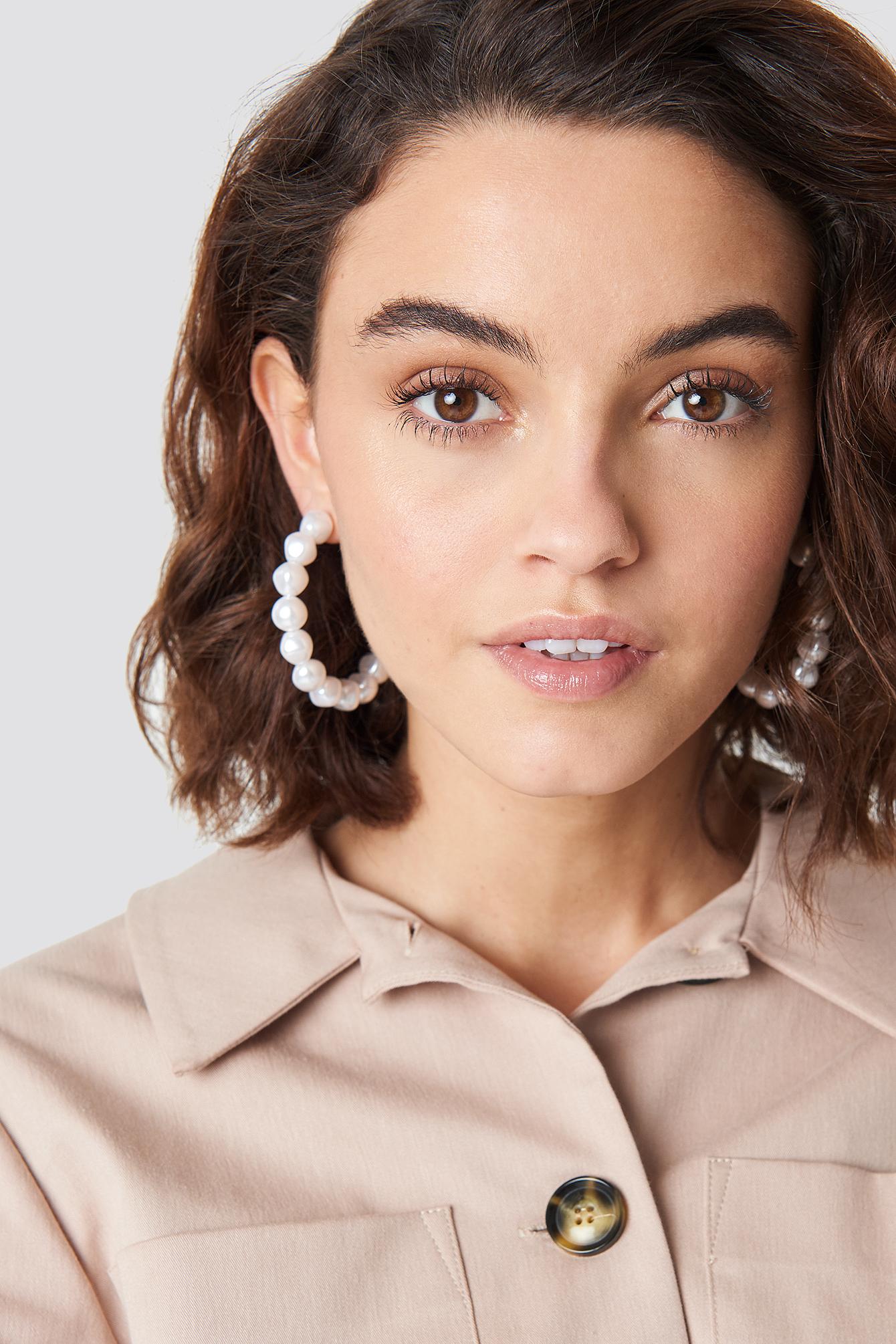 na-kd accessories -  Pearl Hoop Earrings - White