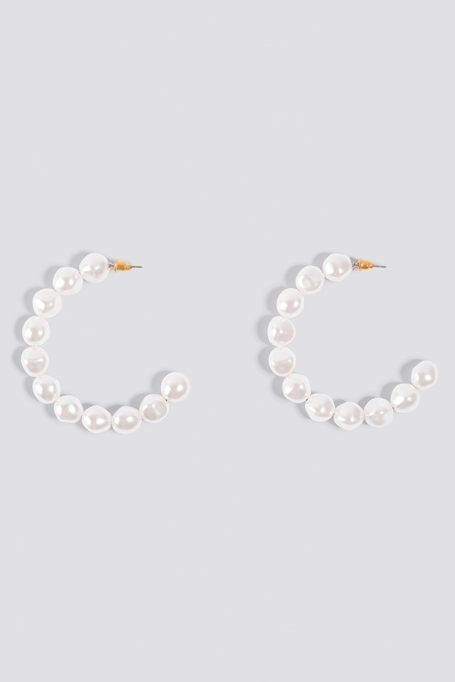 Pearl Hoop Earrings White