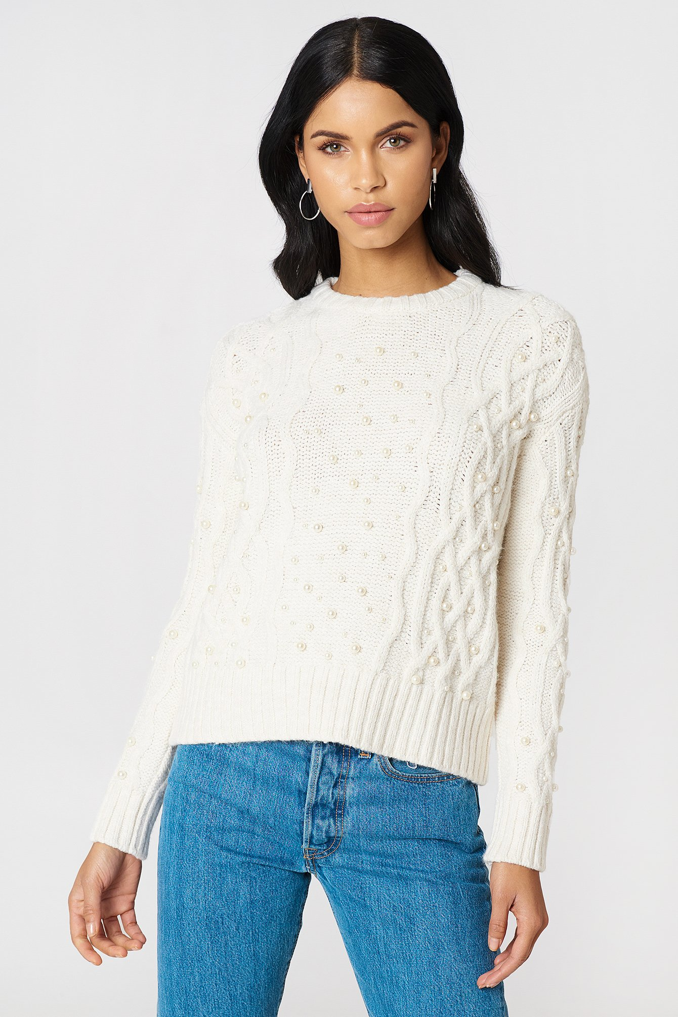 PEARL KNITTED SWEATER - WHITE, OFFWHITE