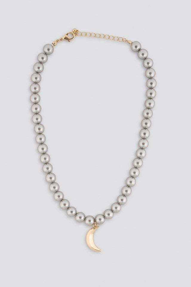 Pearl Moon Pendant Necklace Grey