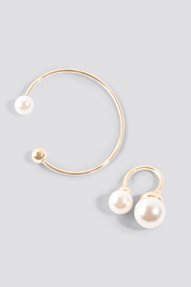 Pearl Ring And Bracelet Set Gold