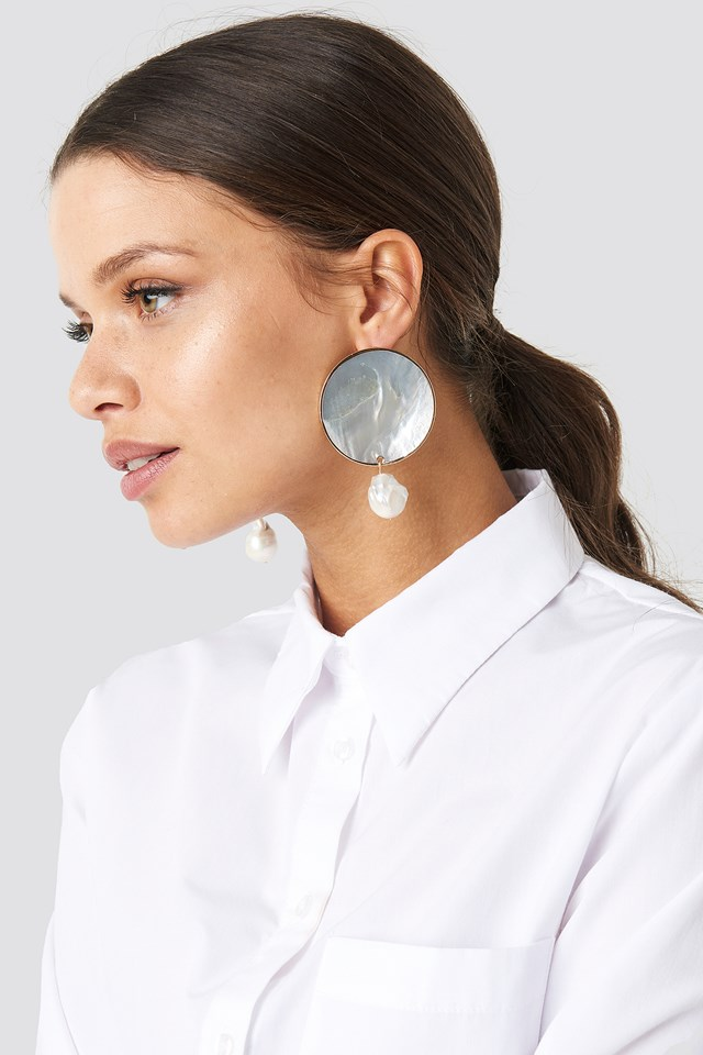 Pearl Round Earrings Natural