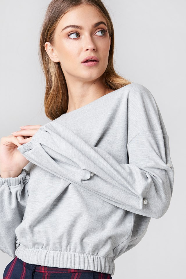 Pearl Sleeve Detail Sweater NA-KD.COM