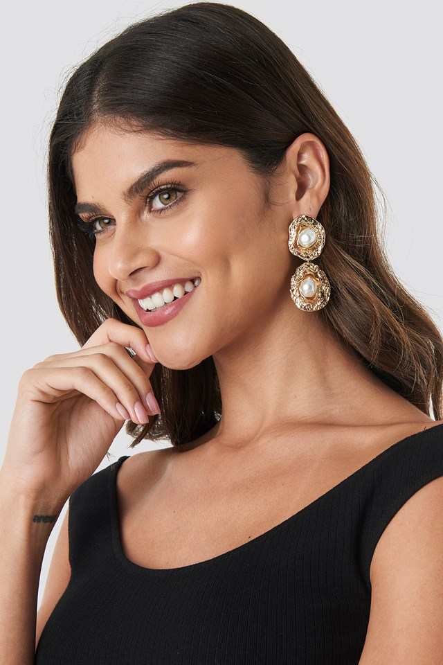 Pearl Textured Drop Earrings Gold