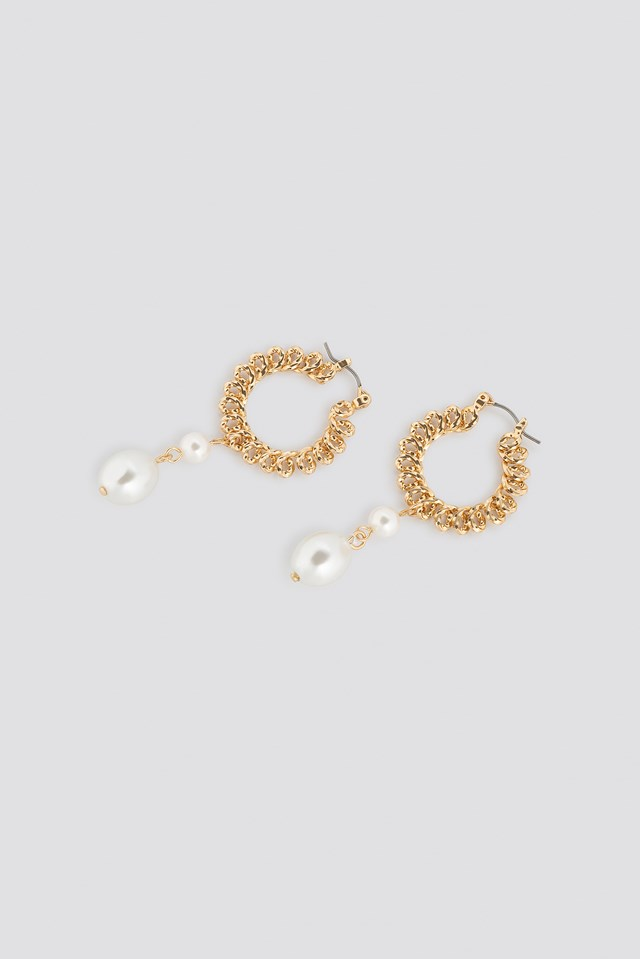 Pearl Textured Hoop Earring Gold